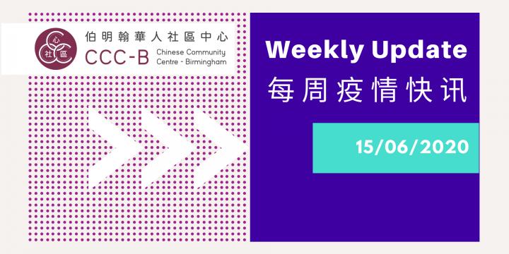 Weekly update 15 June 2020 –  每周疫情快讯 2020年6月15日